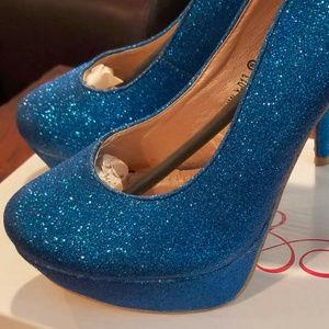 Ami Clubwear Royal Blue Glitter Pumps/Heels